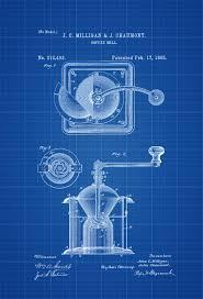 coffee grinder patent print decor kitchen decor restaurant