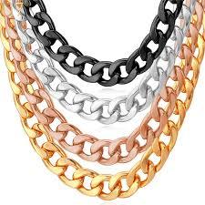 necklace wholesale images U7 cuban link chain necklace wholesale rose gold black gun silver jpg