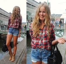shorts jeans e camisa xadrez ootd pinterest street style