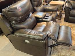 Power Reclining Sofa And Loveseat by Maximus Fossil Top Grain Leather Power Reclining Sofa Loveseat