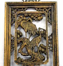 japanese ibis bird carved wood wall panel