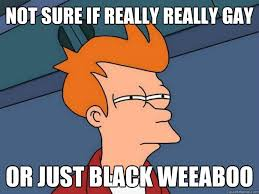 Weeaboo Meme - not sure if really really gay or just black weeaboo futurama fry