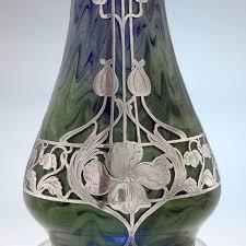 austrian vases antique la pierre sterling silver overlay large antique vase with loetz