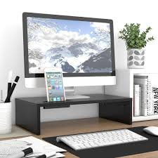 Desk Risers Uk 1 2 Tier Wood Glass Desktop Monitor Stand Shelf Plinth Tv Laptop