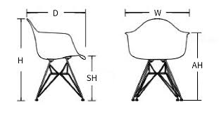 Armchair Dimensions Eames Molded Plastic Armchair Wire Base