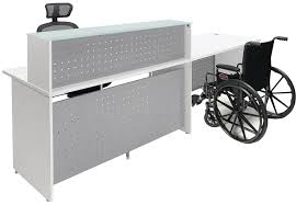Ada Reception Desk White Glass Top Wheelchair Accessible Reception Desk