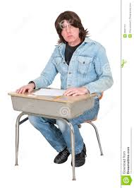 Student At Desk by High School Or College Student In School Desk Class Isolated