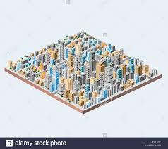 big isometric city with hundreds of different houses offices
