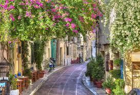 wallpaper greece street flowers road cafe desktop wallpaper