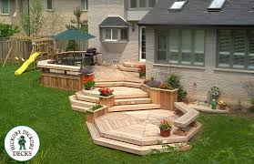 Deck Planters And Benches - backyard landscaping multi level backyard deck planters and