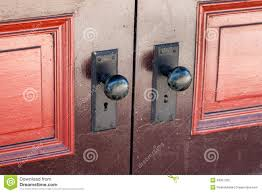 Old Knobs Door Knobs With Old Fashioned Key Lock Stock Photo Image 49351320