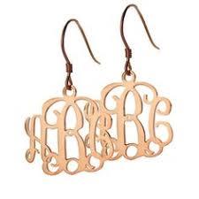 Monogrammed Earrings Personalized Gold Monogram Drop Disk Earrings Monograms Drop