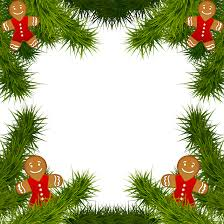 christmas pine frame with gingerbread ornaments png clipart image