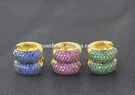 hoop huggie semi joias gold plated hoop huggie earrings women micro pave