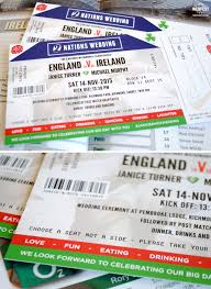 sports ticket invitation ireland vs england rugby ticket wedding invitations wedfest