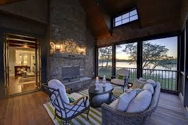 screened in porch with fireplace porch traditional with balcony