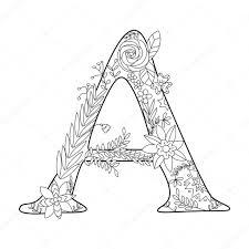 Livre de coloriage de lettre A pour vecteur adultes  Image