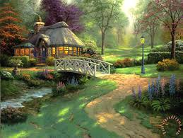kinkade friendship cottage painting friendship cottage