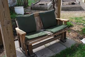 front porch inspiring outdoor glider chair designed with brown