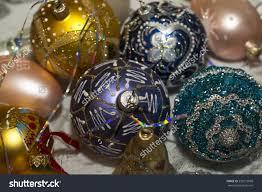 beautiful glass ornaments tree painted stock photo