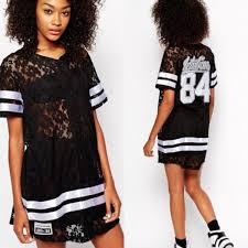 ichiban lace baseball jersey dress with varsity print at asos com