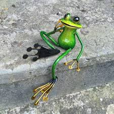 castleton home animal shelf sitting metal garden frog statue