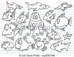 doodle sketch ocean animal set notebook doodle sketch ocean