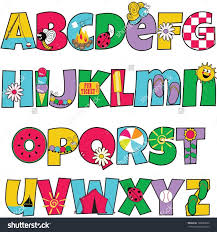 stock vector colorful kids alphabet with summer themed letters