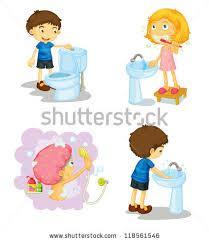 illustration kids bathroom accessories on white stock illustration