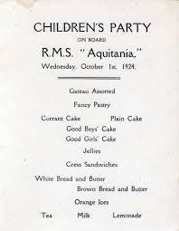 Titanic Second Class Menu by Vintage Menus Children U0027s Party Menu Cunard Line Aquitania