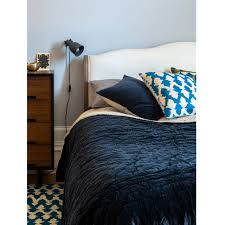 velvet linen bedspread navy color niki jones