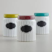 pig kitchen canisters of 3 white ribbed colored lid ceramic chalkboard canisters