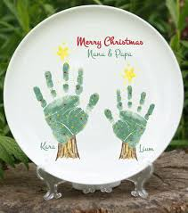 keepsake plates christmas tree handprint plate 302b plt and footprint