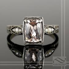 buy a hand made 14k art deco morganite and pearl engagement ring