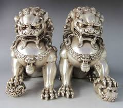 fu dogs a pair of silver guardian lion foo fu dog statues in
