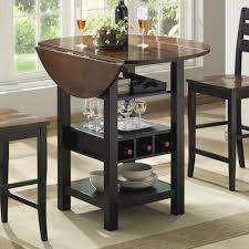 Drop Leaf Bistro Table Bernards Ridgewood Drop Leaf Pub Table With Wine Rack Wayside