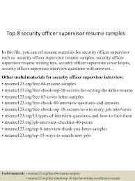 Security Supervisor Resume Top8securityofficersupervisorresumesamples 150516152503 Lva1 App6891 Thumbnail 4 Jpg Cb U003d1431789951