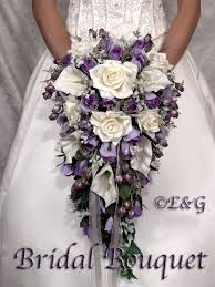 silk flowers for wedding cascading wedding bouquet purple accents search wedding