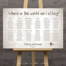 Wedding Table Themes World Map Wedding Seating Chart Travel Theme City Destination