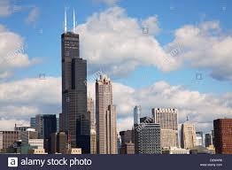 chicago sears willis tower skyline summer clouds blue sky