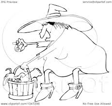 halloween line art outline clipart of a cartoon black and white chubby warty