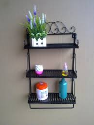bathroom wall shelves wrought iron craft towel rack countryside