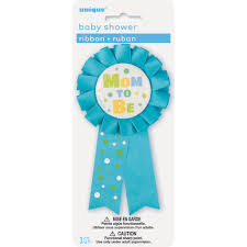 blue mom to be baby shower award ribbon boy baby shower supplies