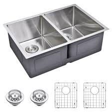 scratch resistant stainless steel sink water creation undermount small 27 in 0 hole double bowl kitchen