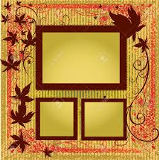 vector set of gold frames with colorful autumn leafs thanksgiving