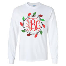 monogrammed christmas monogrammed christmas lights sleeve t shirt united monograms