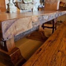 classic barn wooden dining table set with upholstery chairs also