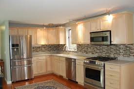 Light Birch Kitchen Cabinets L Shape Kitchen Decoration Using Grey Glass Tile Kitchen