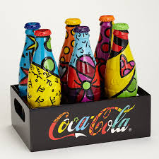romero britto romero britto numbered limited edition coke bottle set with crate
