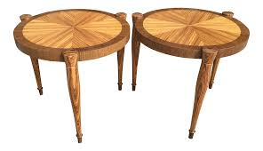 art deco zebra wood end tables a pair chairish